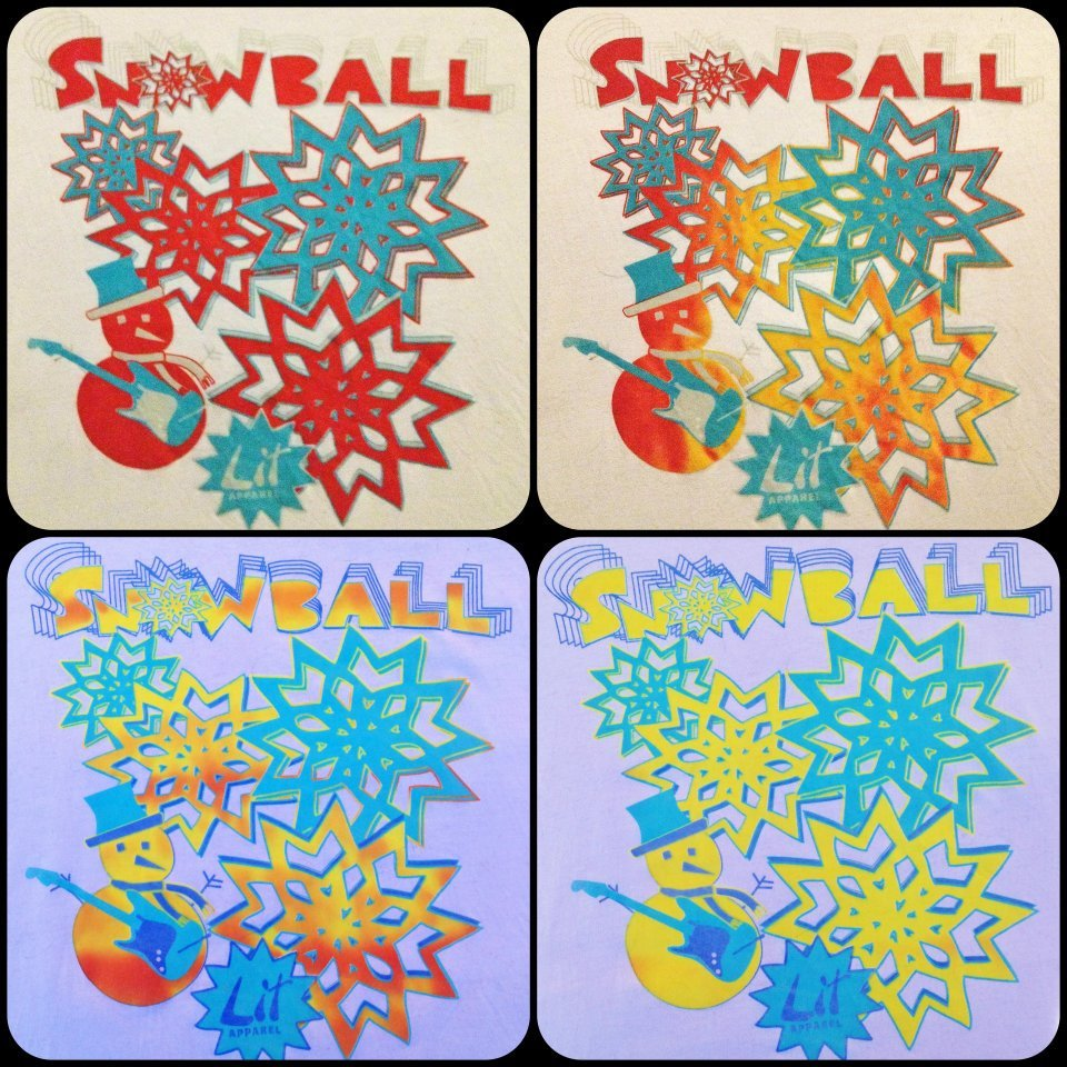 Official Snowball Music Fest shirts. Heat reactive/glow in the dark.