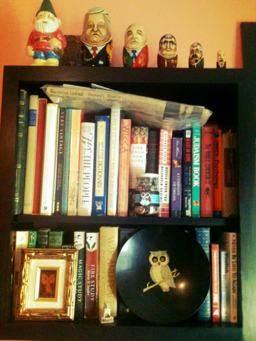 Notice my hand-painted gnome and Russian leader nesting dolls, and the owls :)