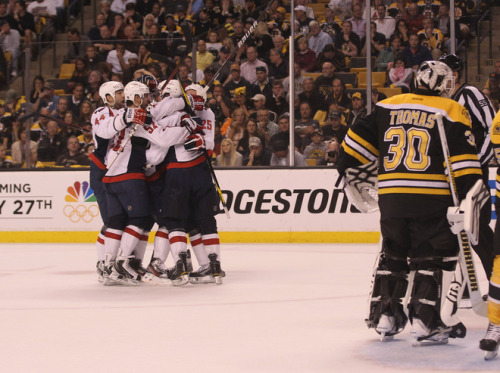 BOSTON, MA - APRIL 21: The Washington Capitals celebrate a goal by Jay Beagle #83 at 14:27 of the second period against the Boston Bruins in Game Five of the Eastern Conference Quarterfinals during the 2012 NHL Stanley Cup Playoffs at TD Garden on April 21, 2012 in Boston, Massachusetts.