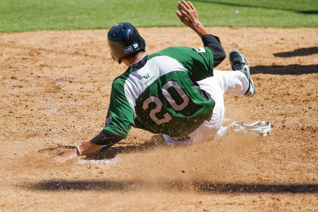 Justin Maffei sliding into home base USF Dons vs. Gonzaga Bulldogs