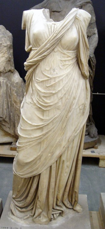 theancientworld:  Marble statue of a draped woman, Ancient Turkey, 2nd c BCE The British Museum  That is freaking MARBLE.  Look at how it is cut.  It looks like draped fabric.  So gorgeous.