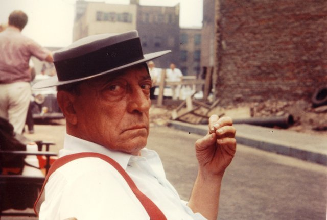 Buster Keaton bustrkeatn:  Buster on the set of Samual Beckett's Film, 1964.