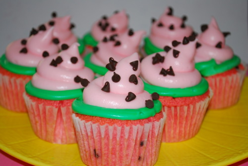 watermelon cupcakes! (recipe)