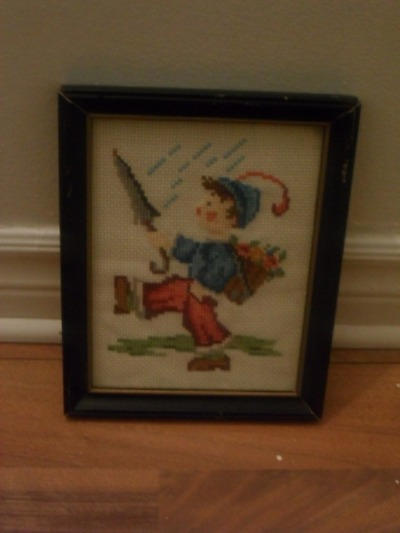 vintage cross-stitch picture, with black wood frame, 10$