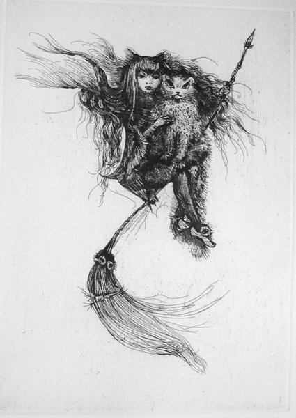 foxesinbreeches:  Illustration by Leonor Fini for Jacques Audiberti's Le Sabbat ressuscité par Leonor Fini (The Witches' Sabbath Resurrected for Leonor Fini), 1957
