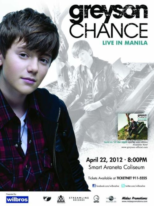 Tonight! Greyson Chance Live in Manila! With special performances by Camryn. 8pm - Smart Araneta Coliseum. Tickets are still available at the venue. This event is brought to us by Wilbros Live