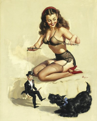"They're Easy To Handle When You Know How - Gil Elvgren 1948 Poem with Picture:""She makes you dance to every whim, at Christmas things get worse.You'll find one string tied to your heart,another to your purse."""