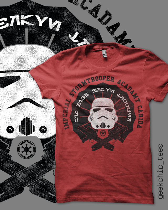 "gamefreaksnz:  IMPERIAL STORMTROOPER ACADEMY by geekchic tees The text in Aurebesh reads : AIM HIGH BRAVE TROOPER ""It is unknown who devised the Imperial Stormtrooper motto. What is known is that when literally interpreted by trainees, it produced a vast army of courageous but incredibly inaccurate Stormtroopers incapable of striking their mark in the most important situations."" - G.Sheek (Star Wars mocktorian and maker upperer of things)"