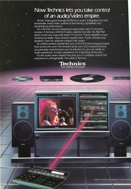 vintagelounge:  Technics. Ad from Playboy, December 1985  Ladies and Gentlemen……….THE FUTURE!!!!