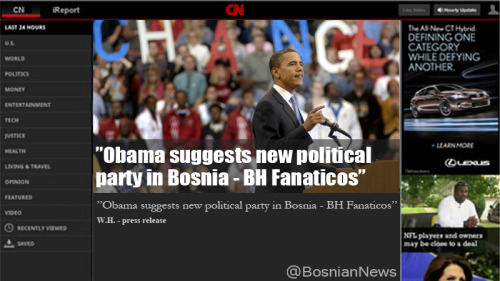 """Obama suggests new political party in Bosnia - BH Fanaticos"""