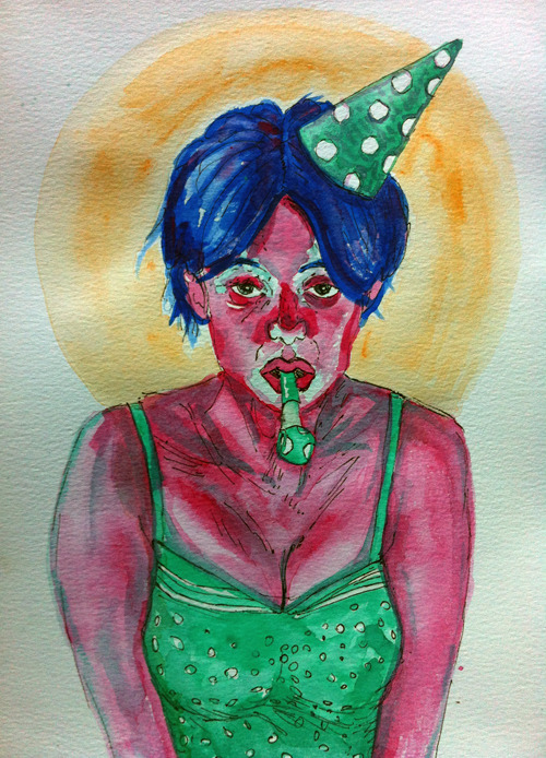 IT'S MY BIRTHDAY!—April 2012Watercolours & fineliners