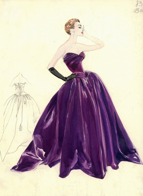 theniftyfifties:  Balmain evening gown illustration, 1950s.