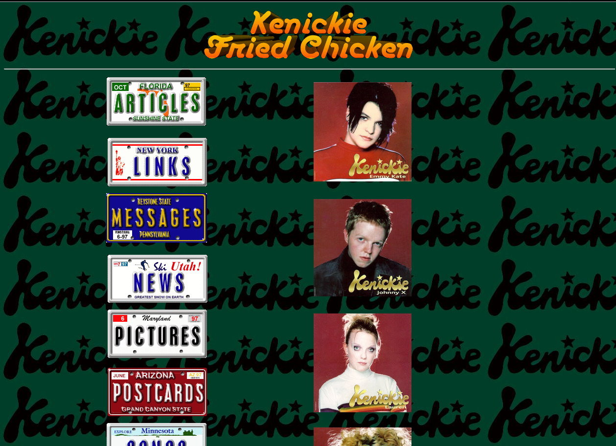 Kenickie Fried Chicken was one of the first sites I remember from the days when the internet was young. You can find an archived version here. Heady days.