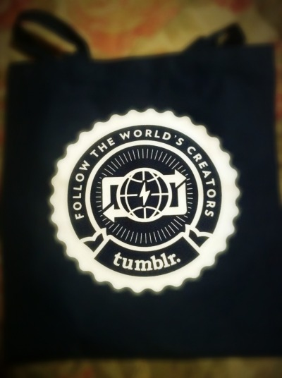 "thespeakerforthedead:  TuMBLR STAFF SENT ME A FREE TOTE BAG!!!  The other day I was INCREDIBLY frustrated about the Ask Box restrictions, so I sent the staff an email explaining how much I LOVE the Tumblr Platform, and yet how dismayed I was (am) at the restrictions placed upon Ask Boxes (all in the name of ""spam-fighting"", HA!).  I received an INCREDIBLY lovely reply from Vandy, and in thanks for my email they decided to send me a free gift, which ended up being a tote bag! :)  YAY! THANK YOU TUMBLR STAFF!!!   Long live Vandy! Love to the users!"