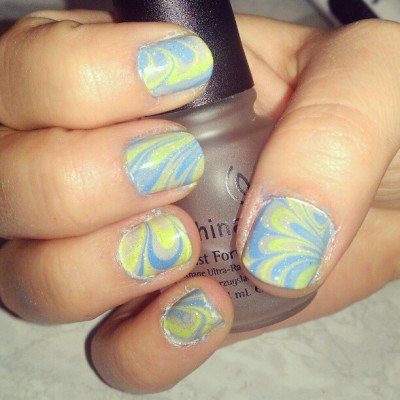 #watermarble #nailart #nailpolish #orly #chinaglaze #nails  (Taken with instagram)