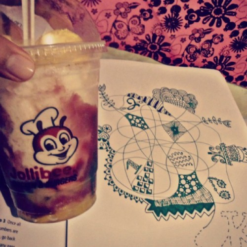 "Eating my ""just because it's hot day"" food while doodling!  (Taken with instagram)"