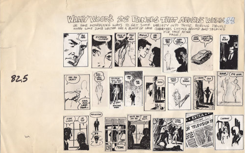 stevelieber:  Wally Wood's 22 panels That Always Work have been passed around like cartoonist samizdat for decades now, and this is a good thing. But keep in mind, they aren't a lesson in how to make good comics, they're something to keep handy in case of emergency. The emergency in question is when a writer has handed you a non-visual script. (Read this letter from David Mamet to his writing staff for more about such things.) Comics are a visual medium, and work best when they use pictures to advance and enrich the narrative. Sometimes a script doesn't do that, but an artist still needs to communicate the impression that there is something dramatic taking place. Tv and film have  sound and movement to help accomplish this goal. In comics, we've got variations in gesture, lighting, and composition. At six or seven panels a page, you can run through a lot of clever shots very quickly trying to keep the reader's eye engaged. When you're all out of good ideas, that's when you need to break the glass and deploy some of Wood's 22.