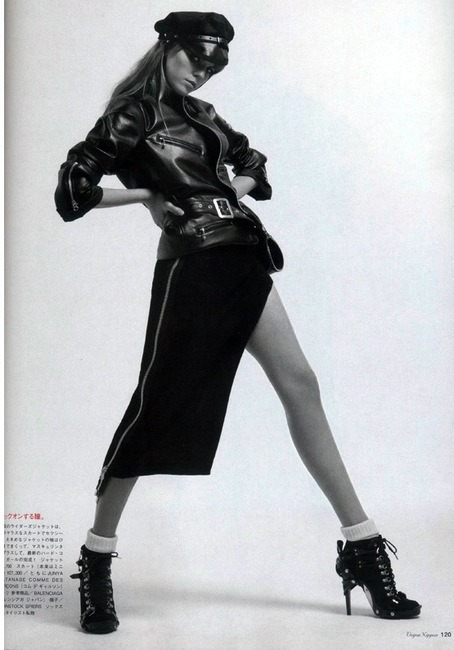 MARYNA LINCHUK WEARING JUNYA WANTANABE LEATHER JACKET + BALENCIAGA LACE UP SHOES.