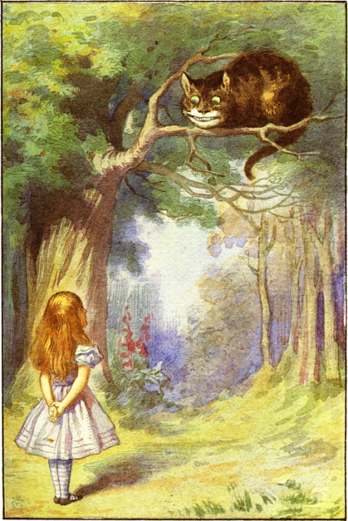 illustrationisart:  Lewis Carroll's Alice aux pays des Merveilles. Illustration bySir John Tenniel, watercolor by Harry G. Theaker in 1911.
