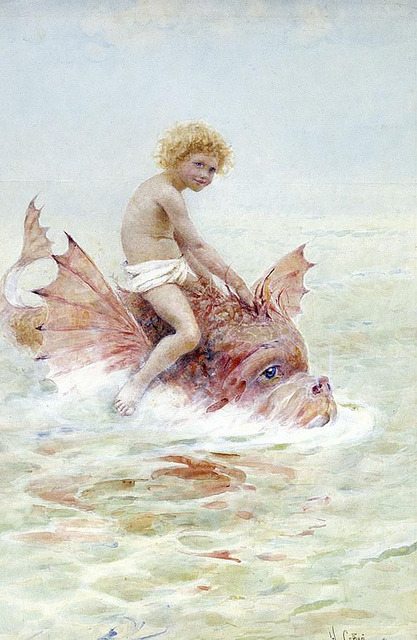 "Hector Caffieri (British, 1847-1932), ""Child and a Sea Creature"""