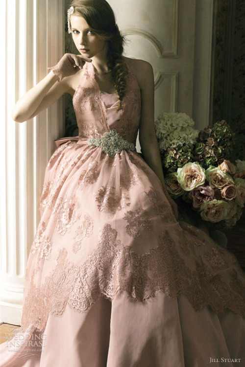 Pink wedding gown by Jill Stuart.
