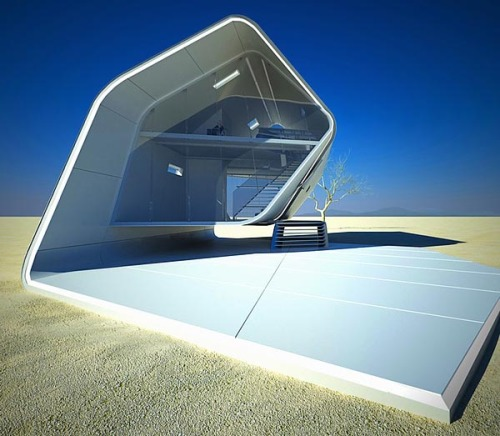 "Futuristic Architecture. The eco friendly, prefabricated California Roll House, designed by Violent Volumes.  ""This eco friendly home is constructed from a fiber-reinforced plastic paired with carbon trusses used for support. The house utilizes automatic doors that are controlled by using hydraulic power. Being the house is designed for the desert, the occupants need to keep themselves cool. The home's microclimate is controlled electronically to ensure that occupants remain comfortable inside regardless of outside temperatures. Check out the images of this beautiful work of art after the break.""  via hiconsumption.com via: WE AND THE COLORFacebook // Twitter // Google+ // Pinterest"