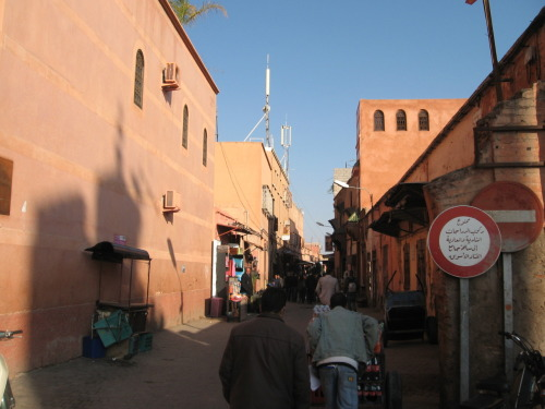 One of the first streets we walked down as we entered the Medina properly. Jacky was amused by the Arabic road sign on the right hand side.