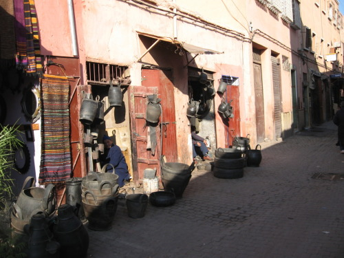 "Najib was quite proud when he said Marrakesh has a strong recycling ethic - ""Nothing goes to waste!"". Apparently everything in this stall is made from recycled car tyres."