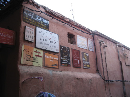 Adverts for different Riads (small hostels) with-in the Medina.
