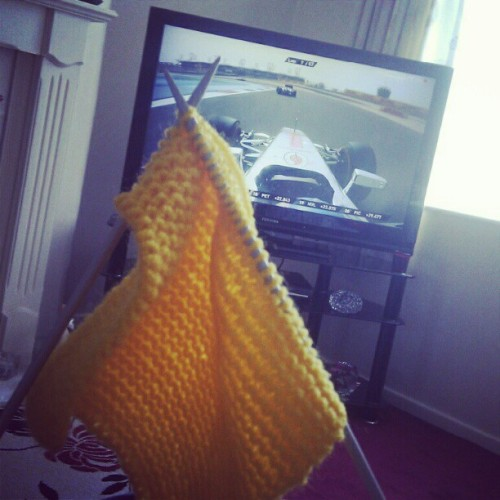 Driving along with @JensonButton whilst knitting (Taken with instagram)