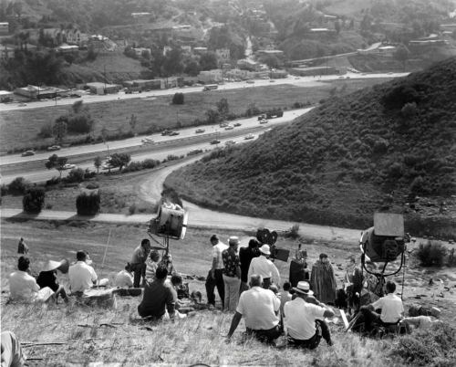 "Filming ""Spartacus"" on top of the Cahuenga Pass, 1959."