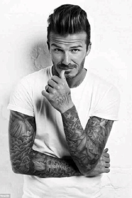 David Beckham. Tattoos.