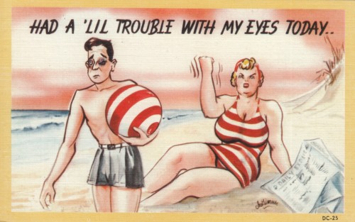 Eye Trouble  The missing postcard artist Chet Warner HERE on Vintage Sleaze the Blog No Date (circa 1950?) Collection Victor Minx