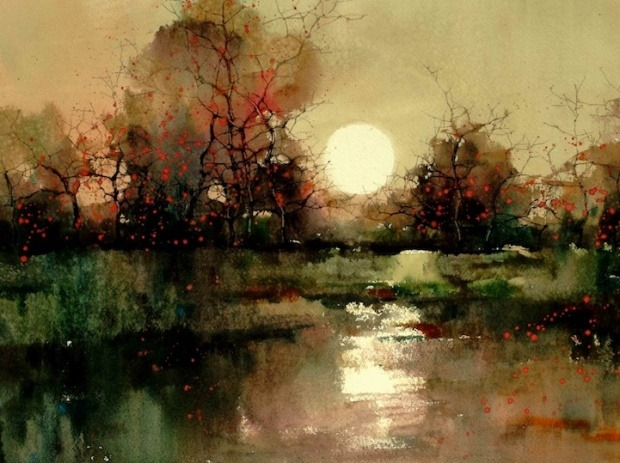 mydarkenedeyes:  Watercolour Landscapes by Z.L. Feng