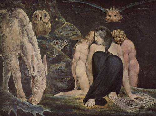 William Blake: The Night of Enitharmon's Joy, 1795.  Blake's vision of Hecate, Greek goddess of black magic and the underworld