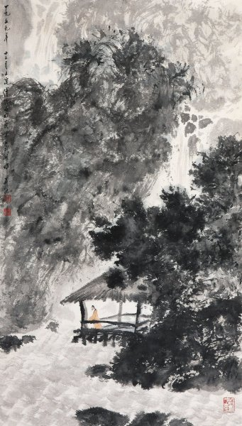 Baoshi FU  Amidst Flowing Streams and Gushing Springs, 1962  Ink, color/paper (hanging scroll), Drawing-Watercolour