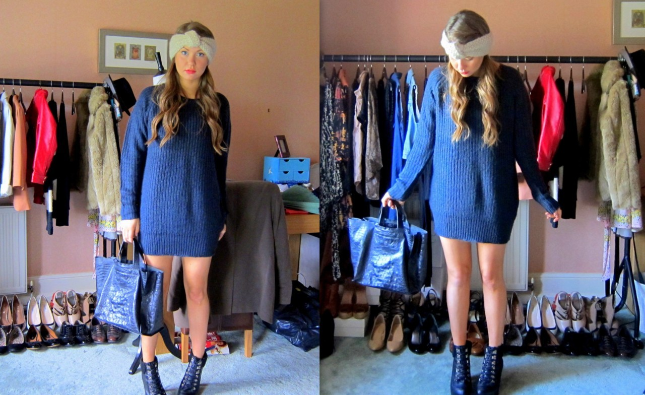 Navy knitted jumper. Selling for £30. Head band selling for £7.