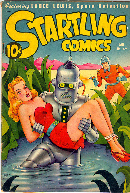 in-sequence:  Startling Comics #49, 1948. Art by Xela