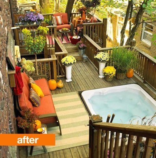 (via Before & After: A Dull Deck's Flower Power Makeover Better Homes and Gardens | Apartment Therapy)