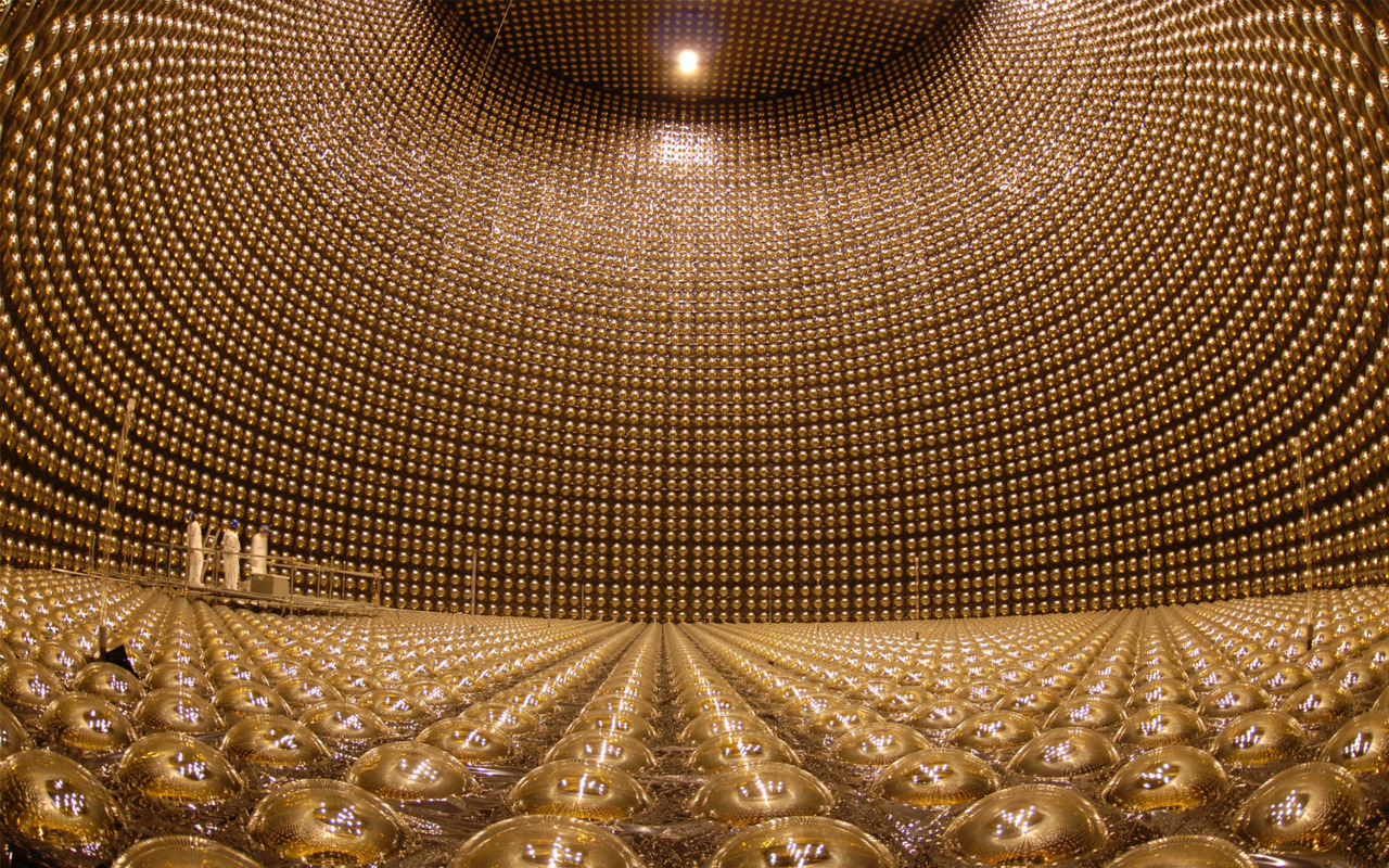 revelation2220:  Pictured is the Super-Kamiokande, a giant neutrino detector, buried 1000m underground in Japan. Usually filled with 50,000 tonnes of pure water, the observatory detects neutrinos by watching for interactions with the subatomic particles in the water. These interactions are extremely rare, which is why the detector needed to be built to the scale it is.