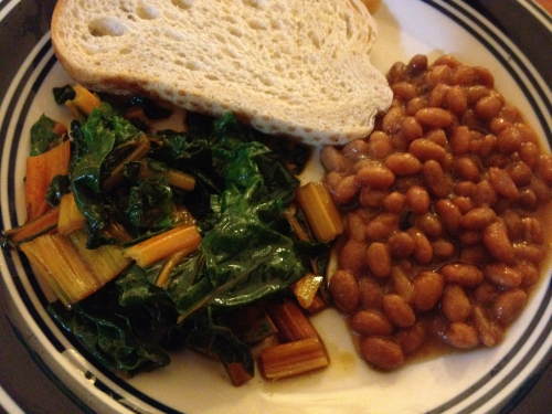 Sauteed Rainbow Chard with Baked Beans on Toast I made this meal when I didn't have much time, but wanted a fresh, hearty dinner. I used Trader Joe's Baked Beans and Sourdough Bread, and organic rainbow chard from the Santa Cruz Farmer's Market. My British friend, H, taught me just how wonderful baked beans are on toast. Rainbow chard is a great leafy green, packed full of vitamins that us veg's need. I flavored it lightly to bring out it's sweet juicy-ness. This takes less then ten minutes to make, and was totally satisfying and delicious.  Ingredients: 1/2 Can baked beans 1 slice sourdough bread  4 stalks rainbow chard Green garlic (fresh garlic) Soy Sauce Oil, salt, pepper to taste Directions: Wash and slice your rainbow chard into bite size pieces, using both the leaf and stem Sautee in pan with a little oil and add soy sauce and spices as desired Don't add the green garlic until the last 2 minutes or so, as it burns easily Meanwhile, toast your bread and heat up your beans Serve chard and pile your beans on your toast Enjoy :)