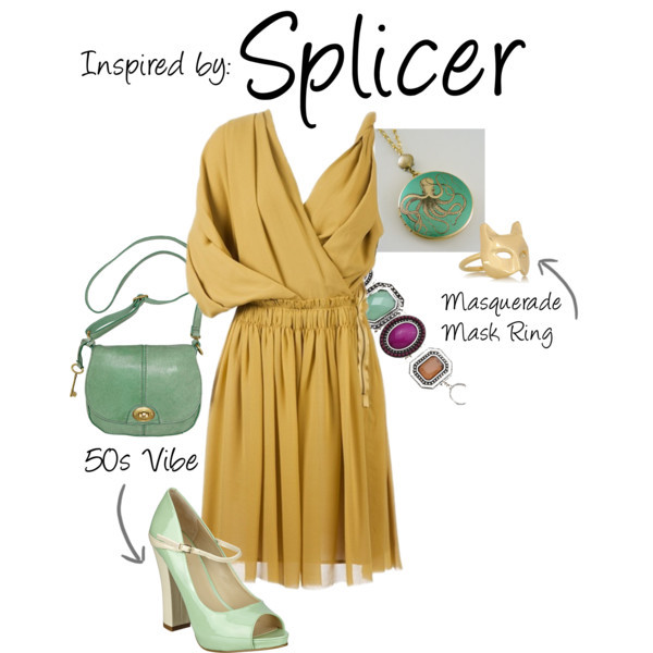 Splicer (Bioshock Series) by ladysnip3r featuring FOSSIL shoulder bags Let's skip the blood, creepy masks, and weapons - This is my 50's outfit inspired by the Splicers of Bioshock. (Reference Image)