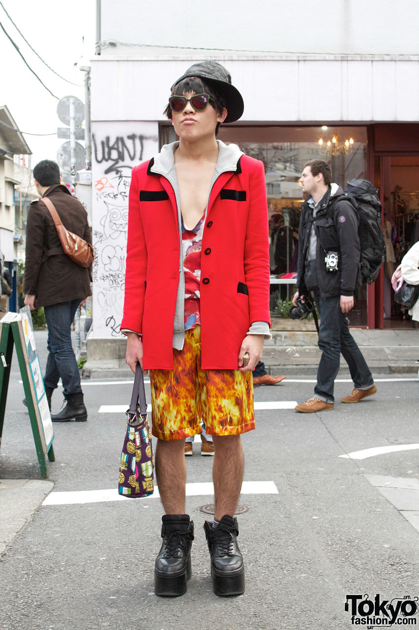 Harajuku guy in tall Nike platforms, Cassette Playa & House of Holland.