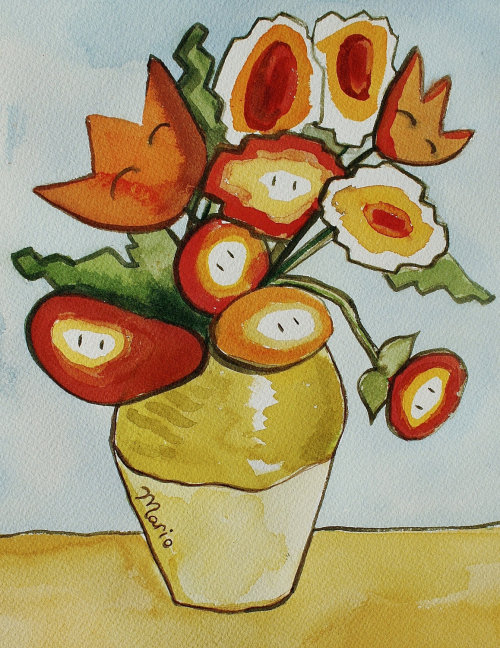 Fireflowers Created by Laura Best Original watercolor available for $80 USD at Etsy.