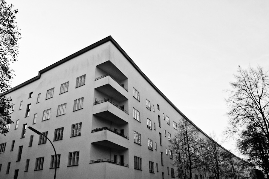 "Building: Britz Siedlung, Berlin, 1925 | Arch.: Bruno Taut | Photo: 2011 ""Focusing our experience gaze on our psychic life necessarily takes places as reflection, as a turning about of a glance which had previously been directed elsewhere, Every manner in which we occupy ourselves with any real or ideal objects … Through reflection, instead of grasping the matter straight-out - the values, goals, and instrumetatilities - we grasp the corresponding subjective experiences in which we become 'conscious' of them, in which (in the broadest sense) they 'appear'. For this reason, they are called 'phenomena'."" - Edmund Husserl, in 'Phenomenology'"