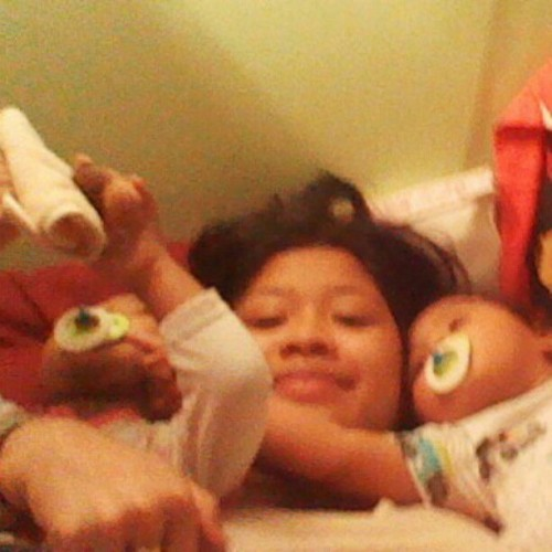 My two little brats Kevol & Leilani fighting over me this morning! <3 (Taken with instagram)