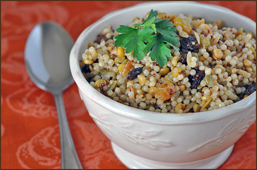 Spiced Raisin Pearl Couscous