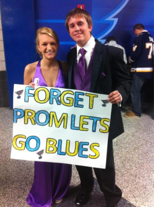 @BJRainsSaw a pair of Blues fans last night who skipped high school prom to be at the game, but still dressed up anyway.