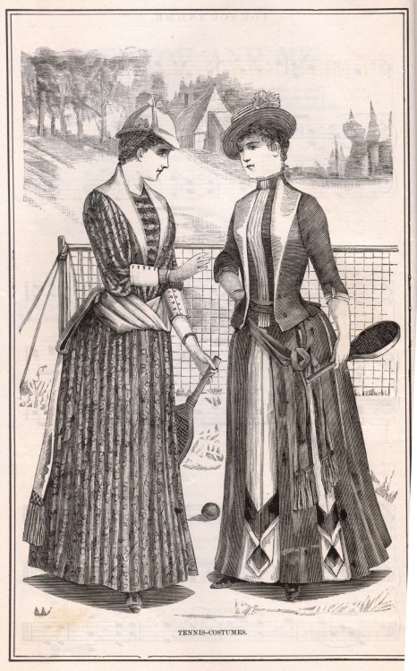 Tennis Costumes from Peterson's Magazine, June 1885. Note the bustles. In a tennis dress. I love the 1880s! Try winning Wimbledon in that Sharapova!