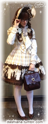 I wore lolita this weekend as well! :> I usually wear it a few times a month, but as it is getting warmer, I find myself wearing my favorite clothes more often. Granted, the outfit still needs a few accessories, but I was excited to get to wear my Chess Chocolate Bonnet for the first time! I always seem to snap into this same pose. :,D I need to work on that.